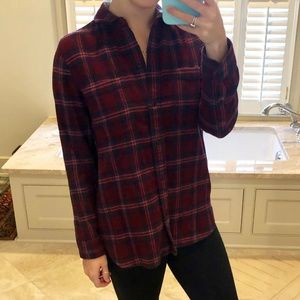 Madewell burgundy and navy flannel